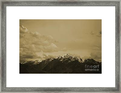 Utah Mountain In Sepia Framed Print