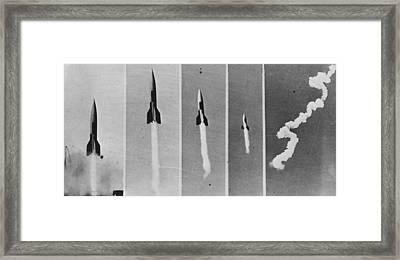 V-2 Bomb In Flight Framed Print by Keystone