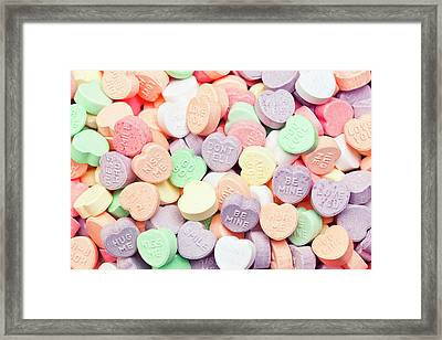 Valentines Candies With Message Framed Print by Kativ