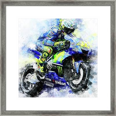 Valentino Rossi - 18 Framed Print by Andrea Mazzocchetti