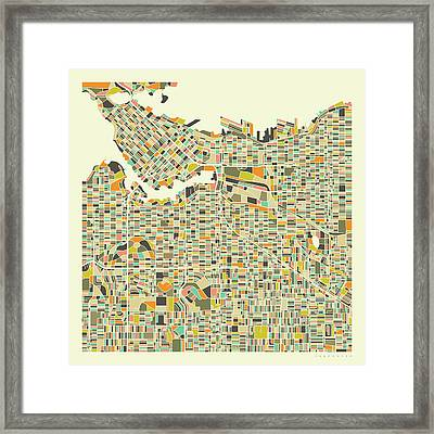 Vancouver Map 1 Framed Print
