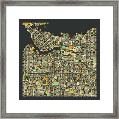 Vancouver Map 2 Framed Print