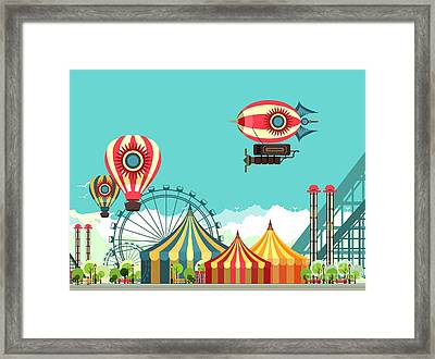 Vector Illustration Carnival Circus Framed Print by Marrishuanna