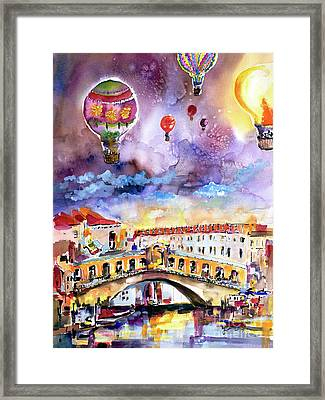 Framed Print featuring the painting Venice Italy Rialto Bridge With Balloons by Ginette Callaway