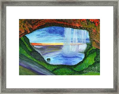 View From The Cave To The Waterfall Framed Print
