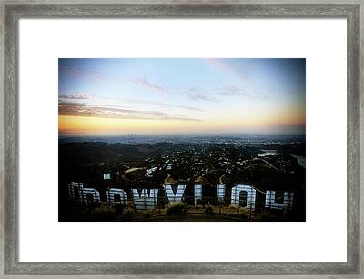 View Of La From Behind The Hollywood Framed Print