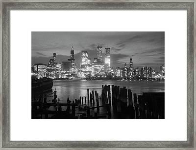 View Of Manhattan Skyline From Brooklyn Framed Print by Bettmann