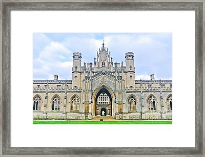 View Of St Johns College, University Of Framed Print by Javen