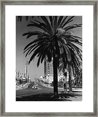 View Of Wilshire Boulevard, Los Angeles Framed Print by R. Gates