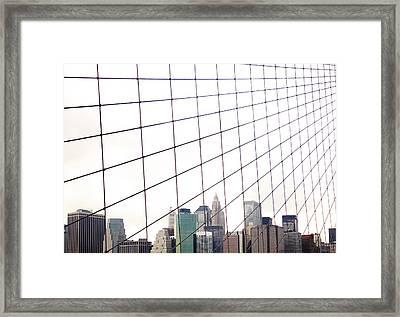 View To Nyc Through Brooklyn Bridge Framed Print by Thomas Northcut