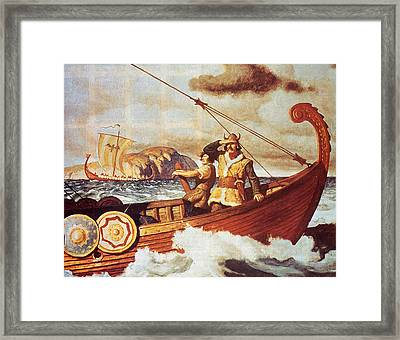 Viking Longship On The Water Framed Print by Hulton Archive
