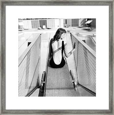 Vikki Dougan In Backless Swimwear Framed Print