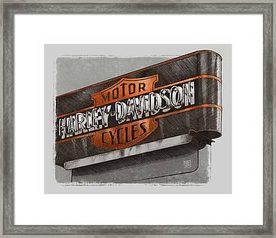 Vintage Motorcycle Shop Framed Print