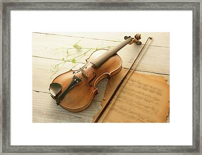 Violin And Music Sheet Framed Print by Image Work/amanaimagesrf