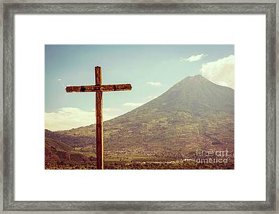 Framed Print featuring the photograph Volcano And Cross In Antigua Guatemala by Tim Hester
