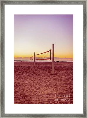 Volleyball Nets Sunset On Mission Beach Framed Print