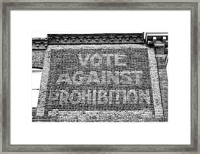 Vote Against Prohibition Baltimore Framed Print