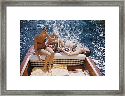 Vuccino And Rava Framed Print by Slim Aarons