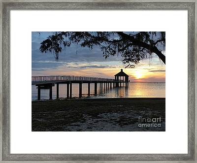 Framed Print featuring the photograph Walking Bridge To The Gazebo by Rosanne Licciardi