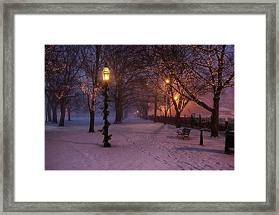 Walking The Path On Salem Ma Common Framed Print
