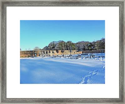 Walled Garden In The Snow Framed Print