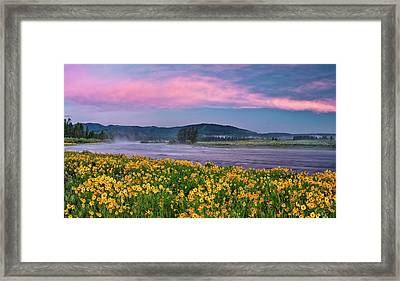 Warm River Spring Sunrise Framed Print