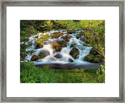 Wasatch Range Cascade Framed Print by Leland D Howard