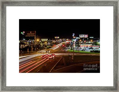 Washington Road At Night - Augusta Ga Framed Print