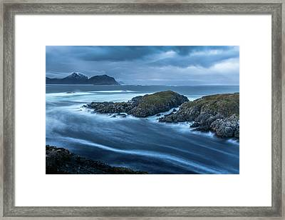 Water Flow At Stormy Sea Framed Print