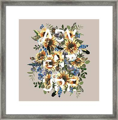 Framed Print featuring the painting Watercolour Sunflowers Adventure Typography by Georgeta Blanaru