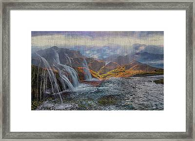 Waterfalls In The Mountains Framed Print