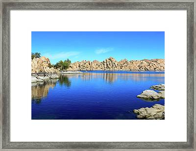 Watson Lake And Rock Formations Framed Print