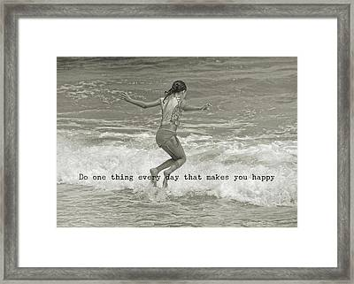 Wave Jump Quote Framed Print by JAMART Photography