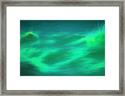 Framed Print featuring the digital art Wave Paint In Green by Bill Posner