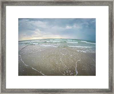 Framed Print featuring the photograph Waves Crashing On Wrightsville Beach Before The Storm by Alex Grichenko