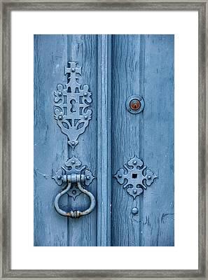 Weathered Blue Door Lock Framed Print