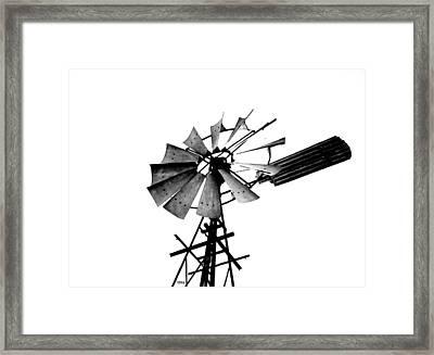 Weathered Windmill - B-w Framed Print