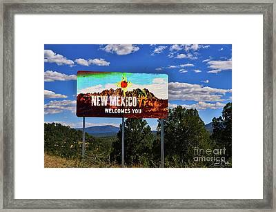 Welcome To New Mexico Framed Print by David Burks