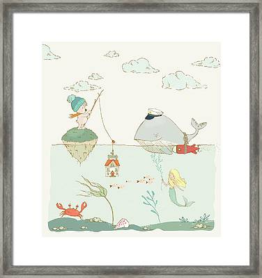Framed Print featuring the painting Whale And Bear In The Ocean Whimsical Art For Kids by Matthias Hauser