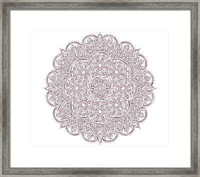 Framed Print featuring the digital art Whimsical Burgundy Mandala by Georgeta Blanaru