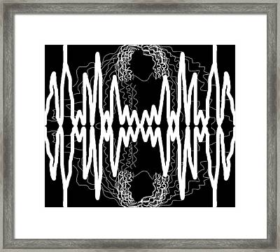 White And Black Frequency Mirror Framed Print