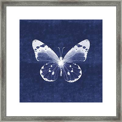 White And Indigo Butterfly 1- Art By Linda Woods Framed Print