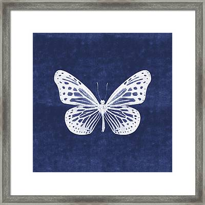White And Indigo Butterfly- Art By Linda Woods Framed Print