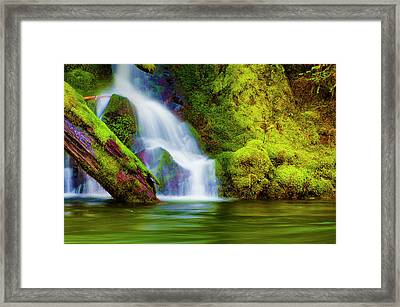 White Cascade Into The Salmon River Framed Print