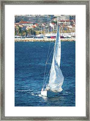 White Sailboat At Cannes Framed Print by Tony Grider