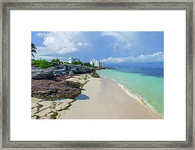 White Sandy Beach Of Cancun Framed Print