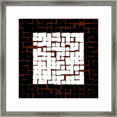 Framed Print featuring the digital art White Square 17x17 by Attila Meszlenyi