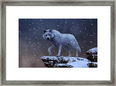 Framed Print featuring the digital art White Wolf In A Blizzard by Daniel Eskridge