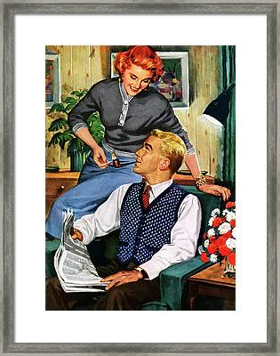 Wife Lighting Husbands Pipe Framed Print by Graphicaartis