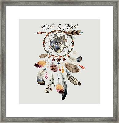 Framed Print featuring the mixed media Wild And Free Wolf Spirit Dreamcatcher by Georgeta Blanaru